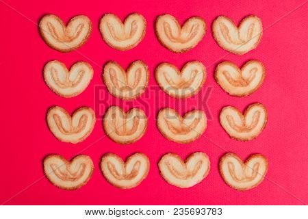 A Cookie In The Form Of A Heart Lined Up