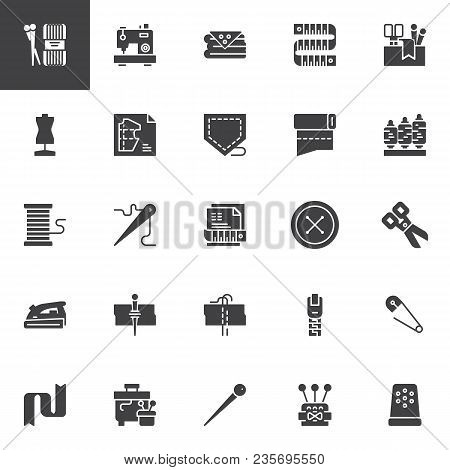 Sewing Vector Icons Set, Modern Solid Symbol Collection, Filled Style Pictogram Pack. Signs, Logo Il