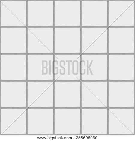 White Square Ceramic Tile Seamless Pattern Background Vector For Kitchen Or Bathroom