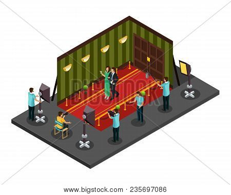 Isometric Movie Production Concept With Professional Crew Members Shooting Film In Studio Vector Ill