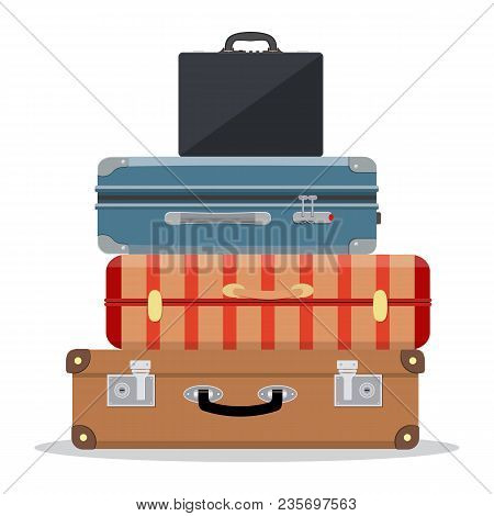 Travel Suitcases Stacked. Illustration For Travel, Holidays, Trips. Suitcases Vacation. Vector Illus