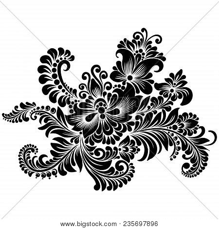 Vector Black And White Decorative Floral Ornament In Ukrainian Folk Style For Decoration And Design,