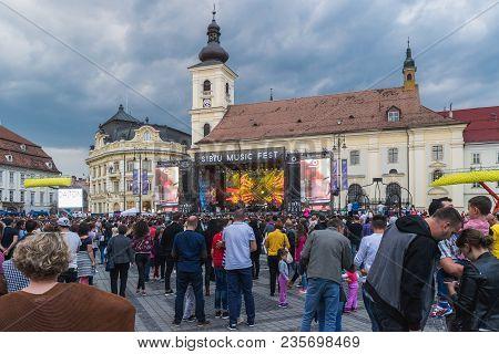 Sibiu, Romania - 9 September, 2017: A View Of Thr Big Square During A Concert In Sibiu, Romania.