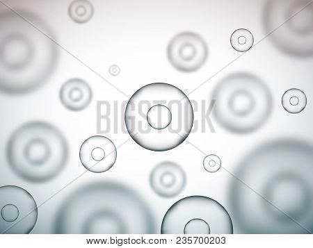 Molecule Background. Round Cells. Grey Science Vector Background