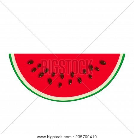 Slice Of Watermelon Isolated On White Background, Juicy Fresh Slice Of Half Watermelon, Summer Time,