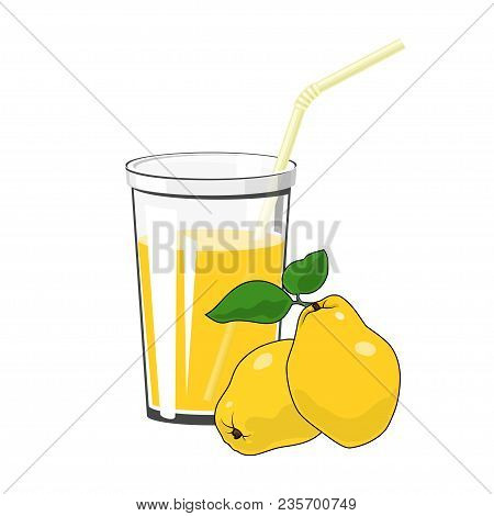 Glass Of Fresh Fruity Juice Of Quince And A Straw Isolated On White Background , Summer Refreshing D