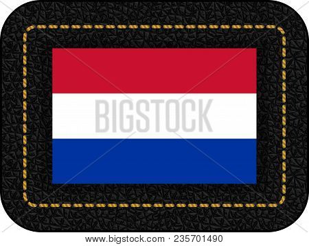 Flag Of Netherlands. Vector Icon On Black Leather Backdrop