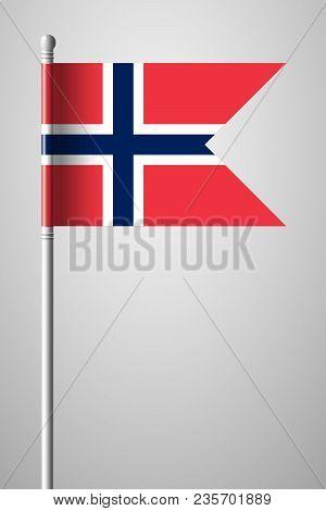 Flag Of Norway. National Flag On Flagpole. Isolated Illustration On Gray