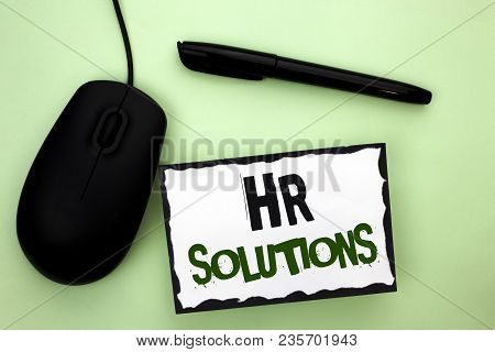 Text Sign Showing Hr Solutions. Conceptual Photo Recruitment Solution Consulting Management Solving