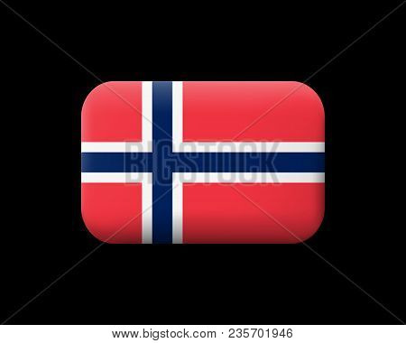 Flag Of Norway. Matted Vector Icon And Button. Rectangular Shape