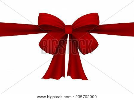 Vector Realistic Red Bow. Bow Of Satin Ribbon. Velvet Bow. Isolated On White. For The Design Of Draw