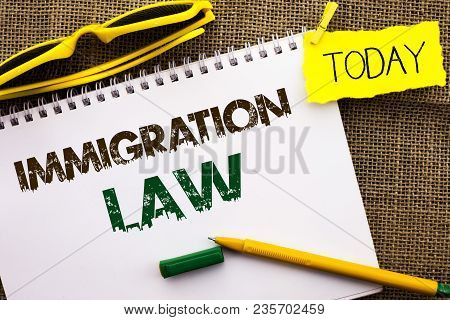 Conceptual Hand Writing Showing Immigration Law. Business Photo Showcasing National Regulations For