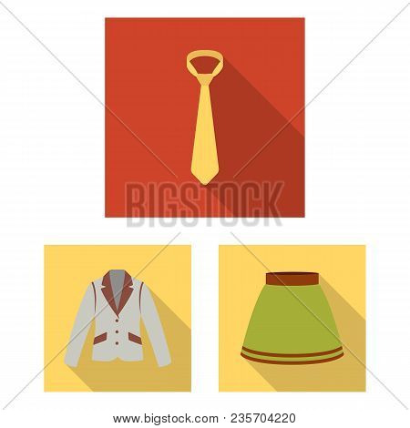 Different Kinds Of Clothes Flat Icons In Set Collection For Design. Clothes And Style Vector Symbol