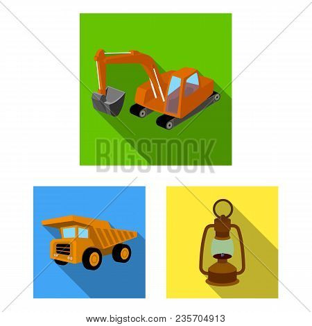 Mining Industry Flat Icons In Set Collection For Design. Equipment And Tools Vector Symbol Stock  Il