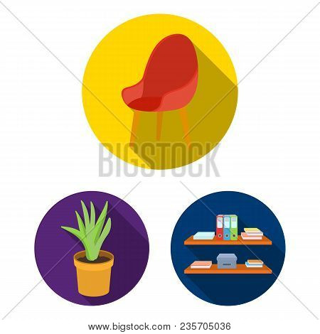 Interior Of The Workplace Flat Icons In Set Collection For Design. Office Furniture Vector Symbol St