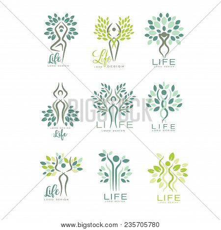 Healthy Life Logo Templates For Wellness Center, Spa Salon Or Yoga Studio. Harmony With Nature. Crea