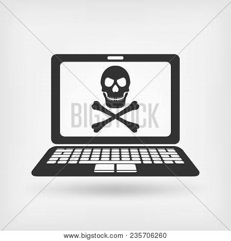 Skull And Crossbones On The Laptop Screen. Virus Concept. Virus Concept. Vector Illustration - Eps 1