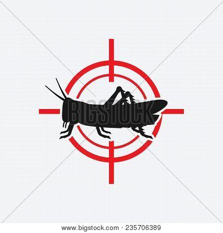 Locust Icon Red Target. Vector Illustration - Eps 8