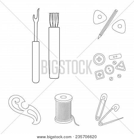 Sewing, Atelier Outline Icons In Set Collection For Design. Tool Kit Vector Symbol Stock  Illustrati