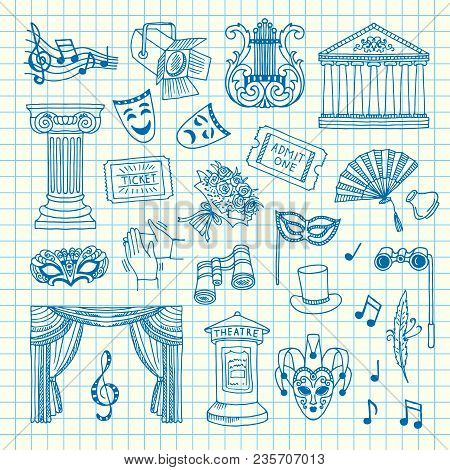 Vector Set Of Doodle Theatre Elements On Cell Sheet Illustration