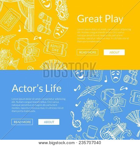 Vector Doodle Theatre Elements Set Of Web Banners Great Play Illustration