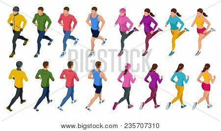 Isometric Running People. Front And Rear View. People Are Dressed In Summer, Winter, Autumn, Spring