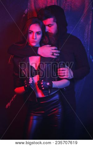 Fashion Photo Of Sexy Elegant Couple In The Tender Passion. Young Couple Of Handsome Brutal Bearded