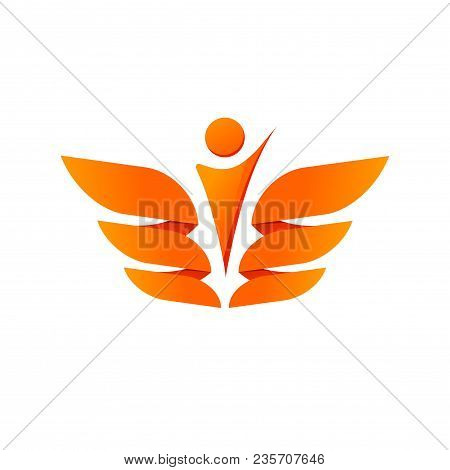 Abstract Wings With Person Silhouette Vector Logo, Concept Of Freedom, Healthcare, Coat Of Arms Logo