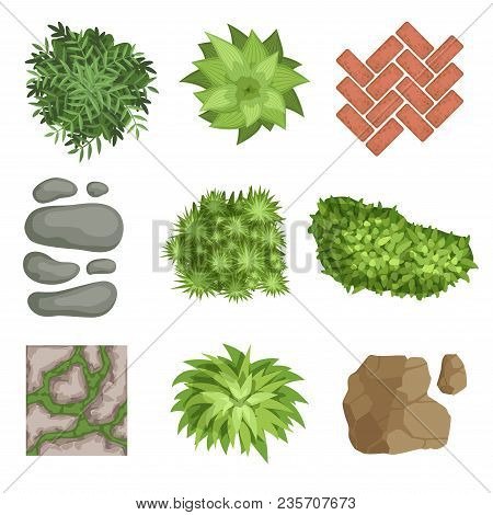Collection Of Landscape Elements. Various Green Plants, Stones, Different Types Of Pathway Cover Bri