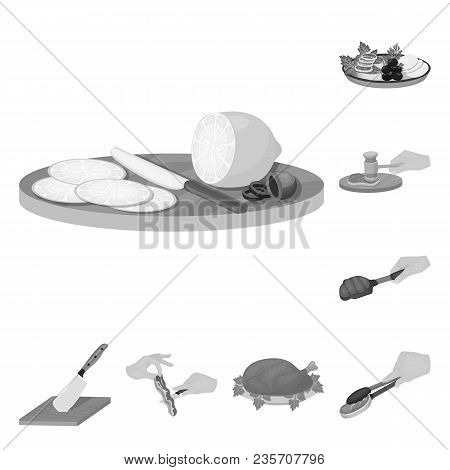 Cooking Food Monochrome Icons In Set Collection For Design. Kitchen, Equipment And Tools Vector Symb