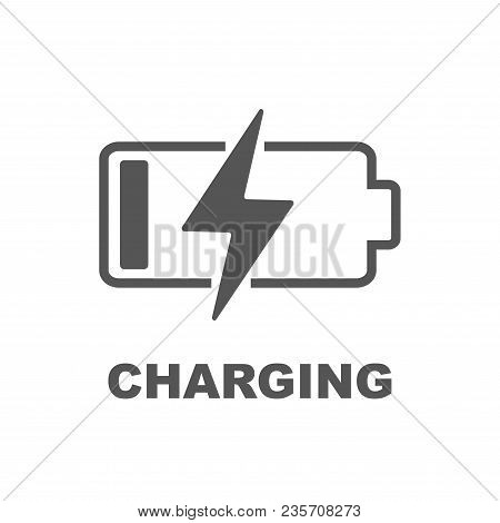 Battery Charging Vector Icon. Black Color On White Background. Eps 10