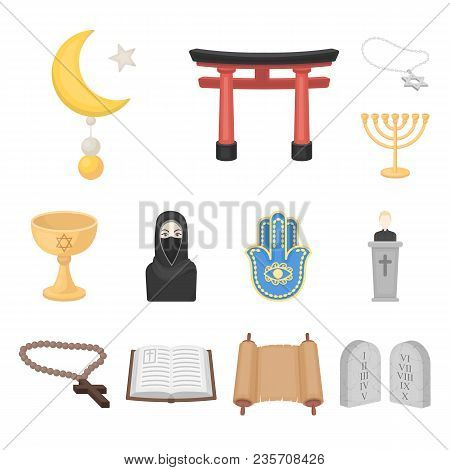 Religion And Belief Cartoon Icons In Set Collection For Design. Accessories, Prayer Vector Symbol St