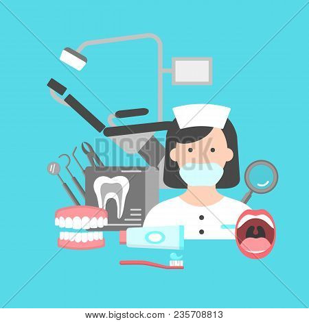 Poster With Icons Of Dental Clinic Services. Information Icons With Dental Clinic Services And Denti