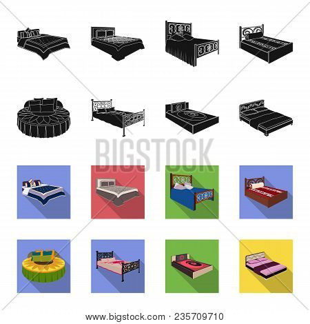 Different Beds Black, Flet Icons In Set Collection For Design. Furniture For Sleeping Vector Isometr