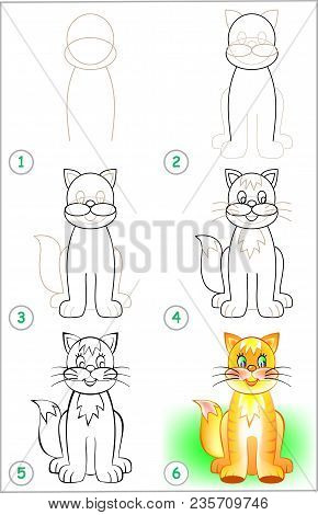 Page Shows How To Learn Step By Step To Draw A Kitten. Developing Children Skills For Drawing And Co