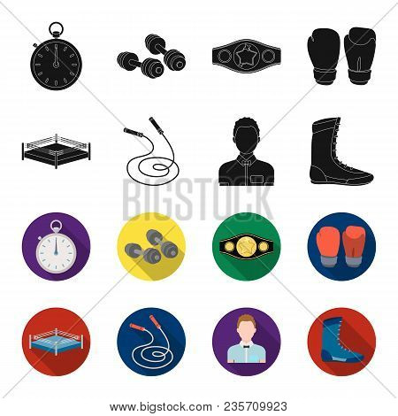 Ring, Rope, Referee, Sneakers Boxing Set Collection Icons In Black, Flet Style Vector Symbol Stock I