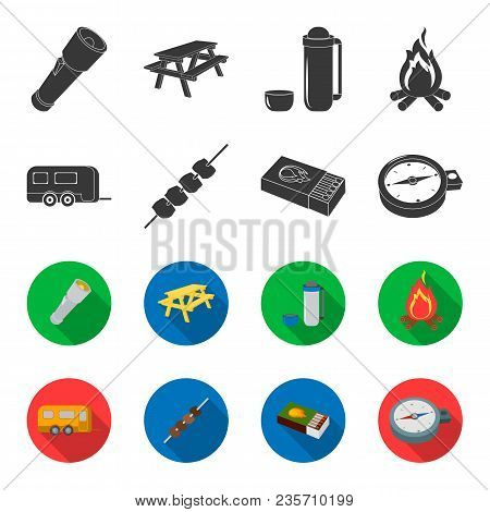 Trailer, Shish Kebab, Matches, Compass. Camping Set Collection Icons In Black, Flet Style Vector Sym