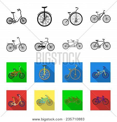 Children Bicycle, A Double Tandem And Other Types.different Bicycles Set Collection Icons In Black,