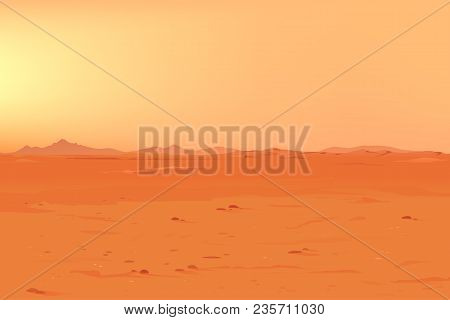 Martian Orange Landscape Background On A Sunny Day, Sand Hills With Stones On A Deserted Planet, Lan