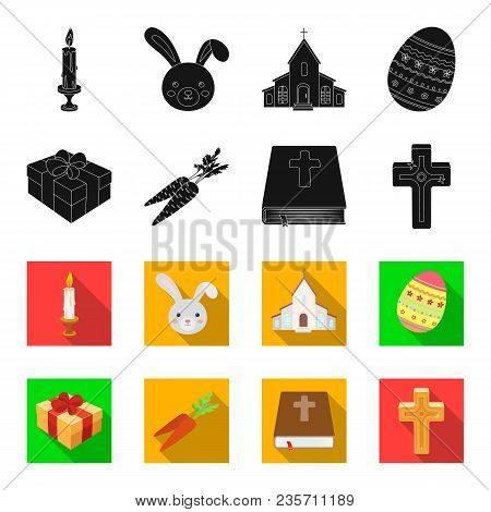 Cross, Bible, Gift And Carrots.easter Set Collection Icons In Black, Flet Style Vector Symbol Stock
