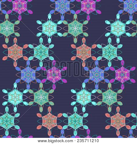 Dark Abstract Lace Floral Seamless Pattern In Blue, Pink And Green Colors, East Style. Elegant Macra