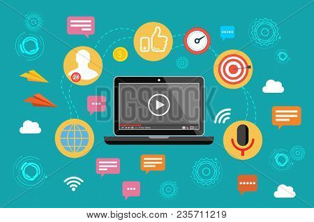 Video Marketing. Video, Webinar, Online Conference. Stream The Video Vector Illustration