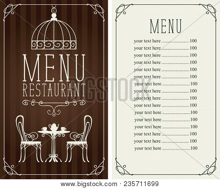 Vector Menu For Restaurant Or Cafe With A Price List And A Table For Two, Chairs And Tea In A Figure