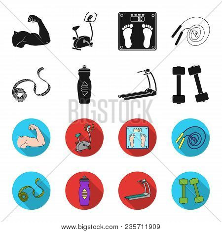 Measuring Tape, Water Bottle, Treadmill, Dumbbells. Fitnes Set Collection Icons In Black, Flet Style