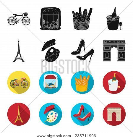 Eiffel Tower, Brush, Hat .france Country Set Collection Icons In Black, Flet Style Vector Symbol Sto