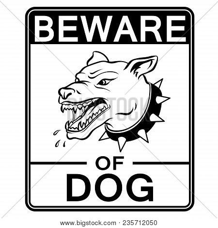 Beware Of Angry Dog Plate Coloring Retro Vector Illustration. Isolated Image On White Background. Co