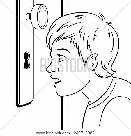 Boy Peeks Into The Keyhole Coloring Retro Vector Illustration. Comic Book Style Imitation.