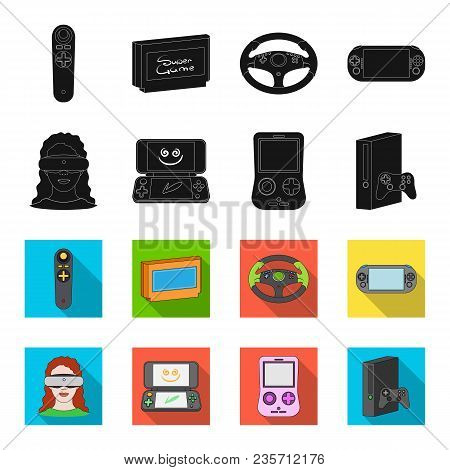 Game Console And Virtual Reality Black, Flet Icons In Set Collection For Design.game Gadgets Vector