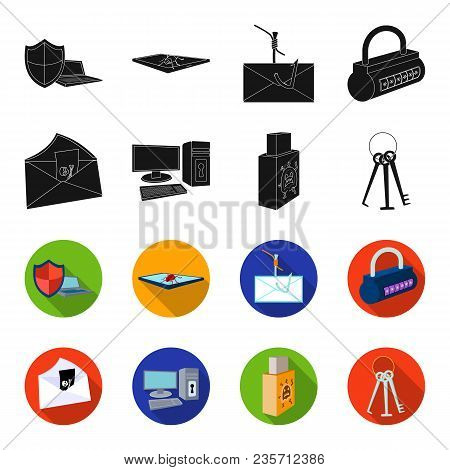 Virus, Monitor, Display, Screen .hackers And Hacking Set Collection Icons In Black, Flet Style Vecto