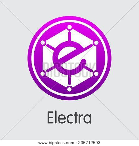 Electra. Blockchain Cryptocurrency. Eca Colored Logo Isolated On Grey Background. Stock Vector Illus